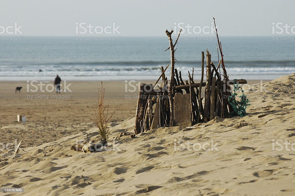 Driftwood Sand Castle royalty-free stock photo