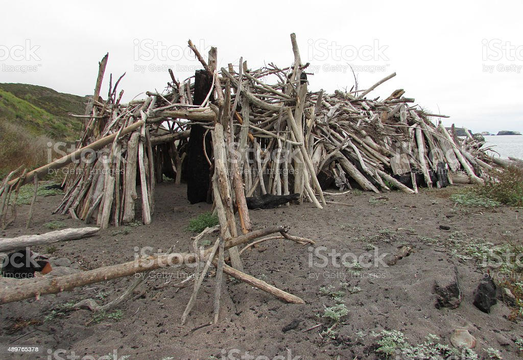 Driftwood Shelter constructed on Sonoma County beach stock photo