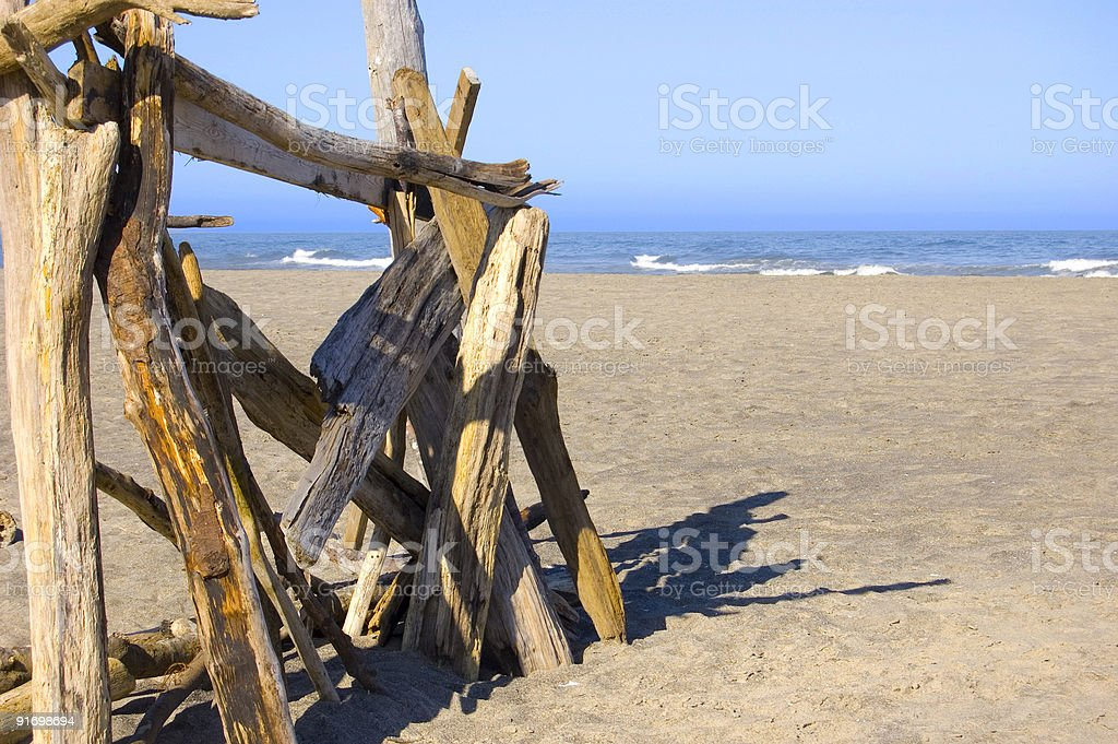 driftwood shelter royalty-free stock photo