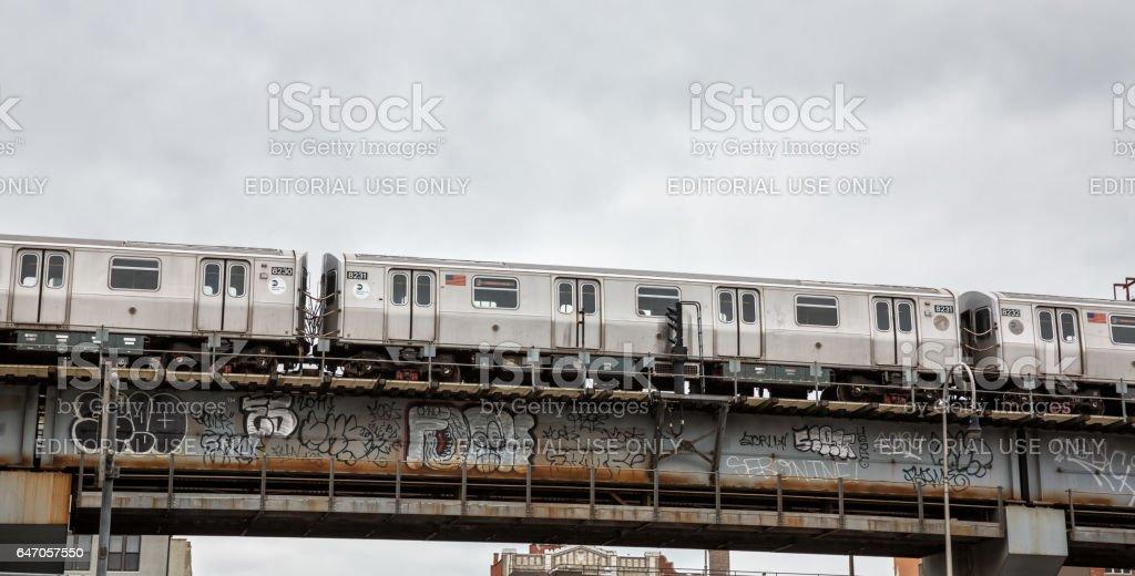 Driggs Ave and Williamsburg Bridge in NYC stock photo