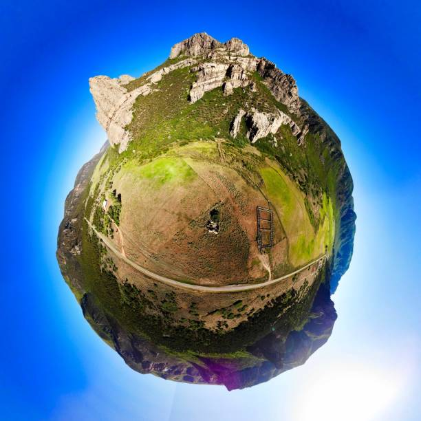 Driggs Mansion Ruins, Unaweep, CO, Tiny Planet View stock photo