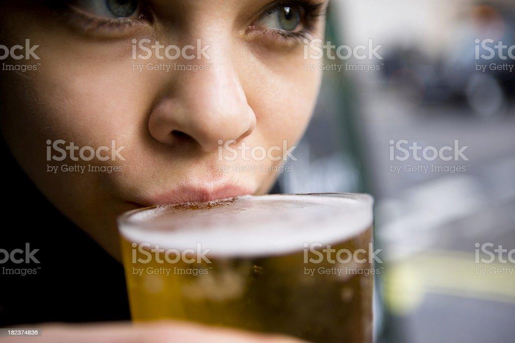 Driking beer stock photo