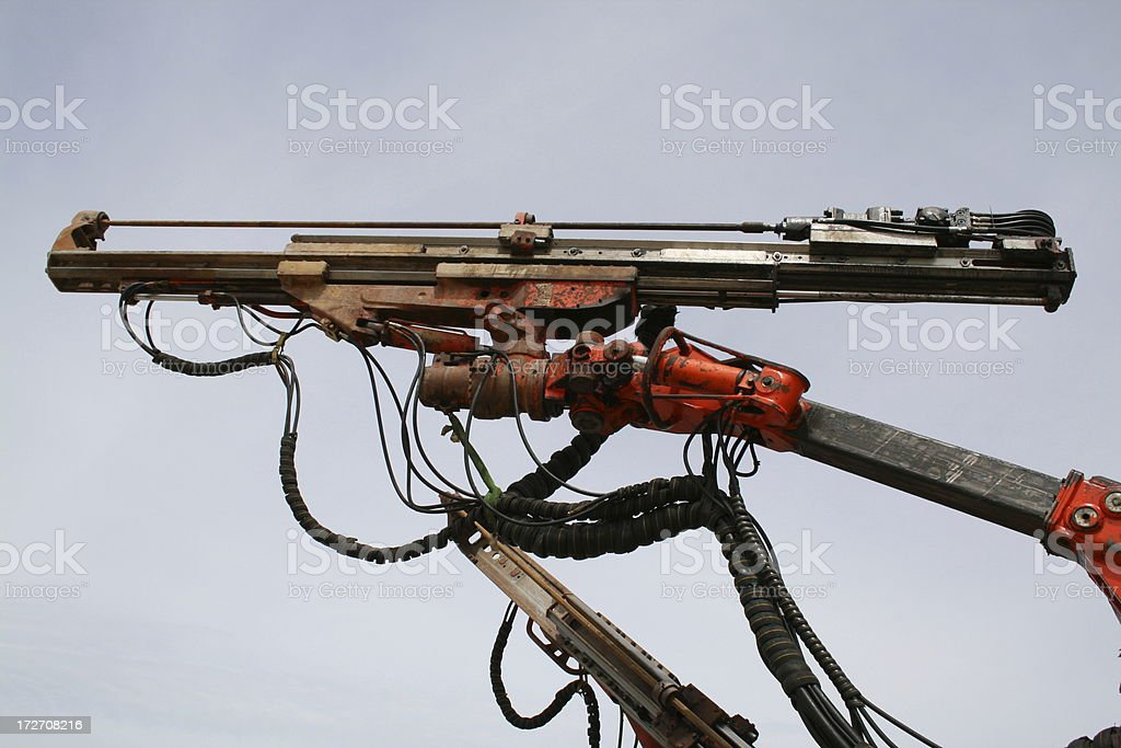 Drill arm on an underground drilling machine royalty-free stock photo