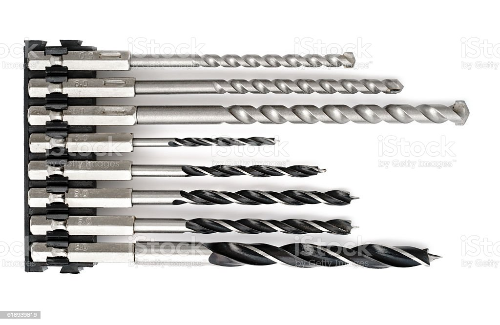Drill bits for wood and concrete stock photo