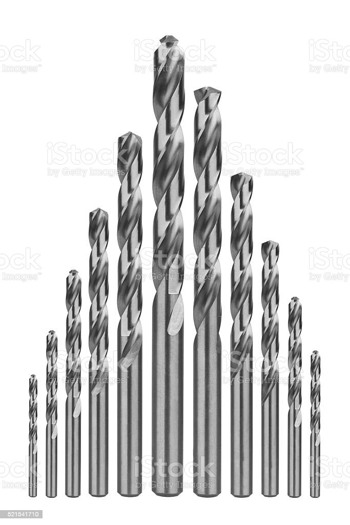 Drill bits of different sizes stock photo