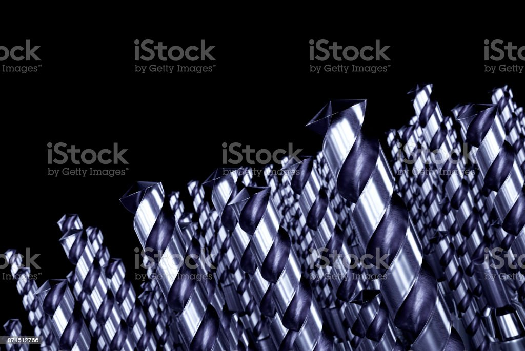Drill Bits on Black Background stock photo