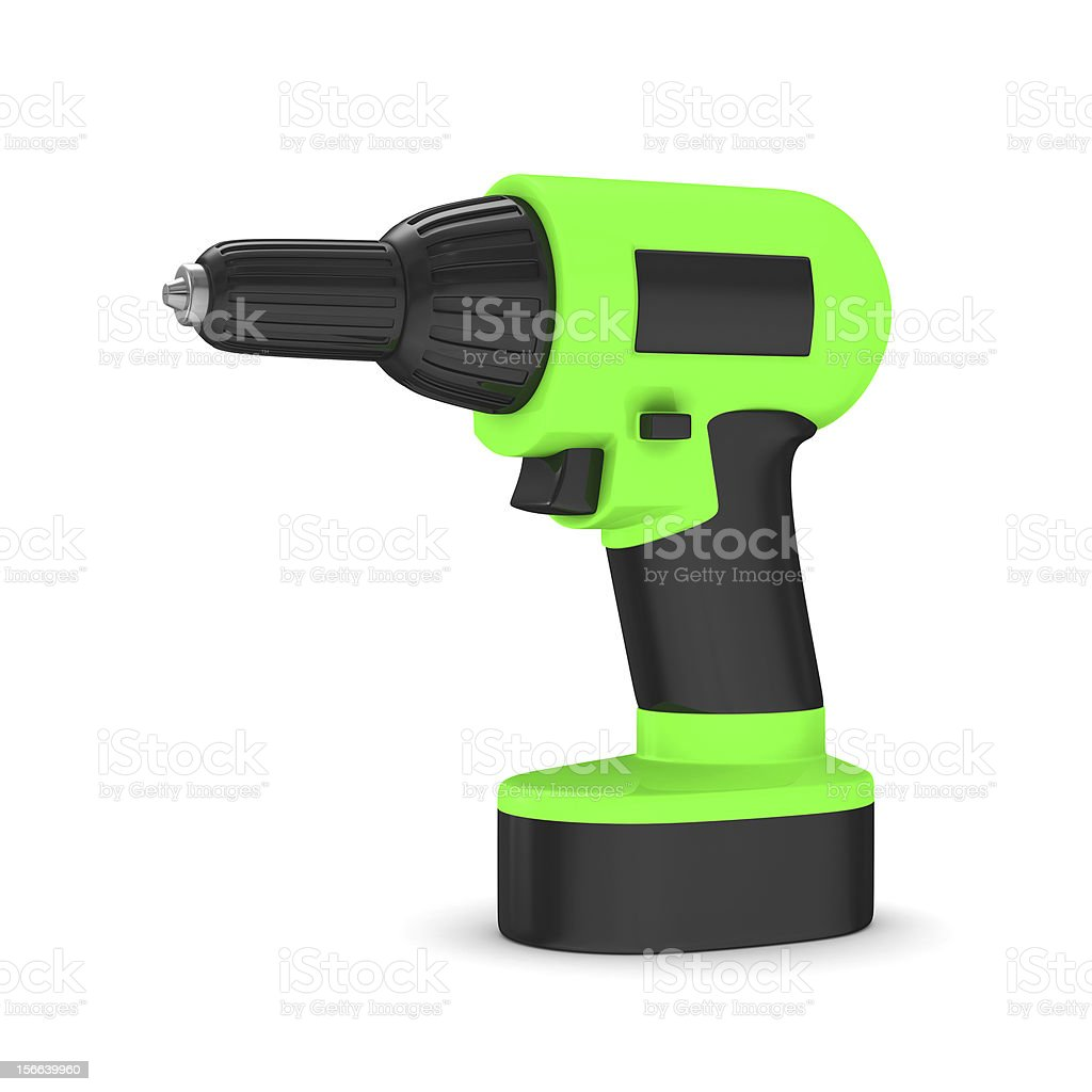 Drill on white background. Isolated 3D image royalty-free stock photo