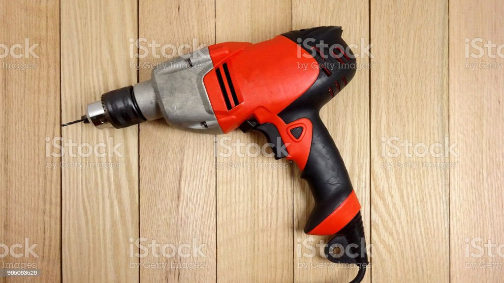 Drill on Wooden Board. Pjoto Image royalty-free stock photo