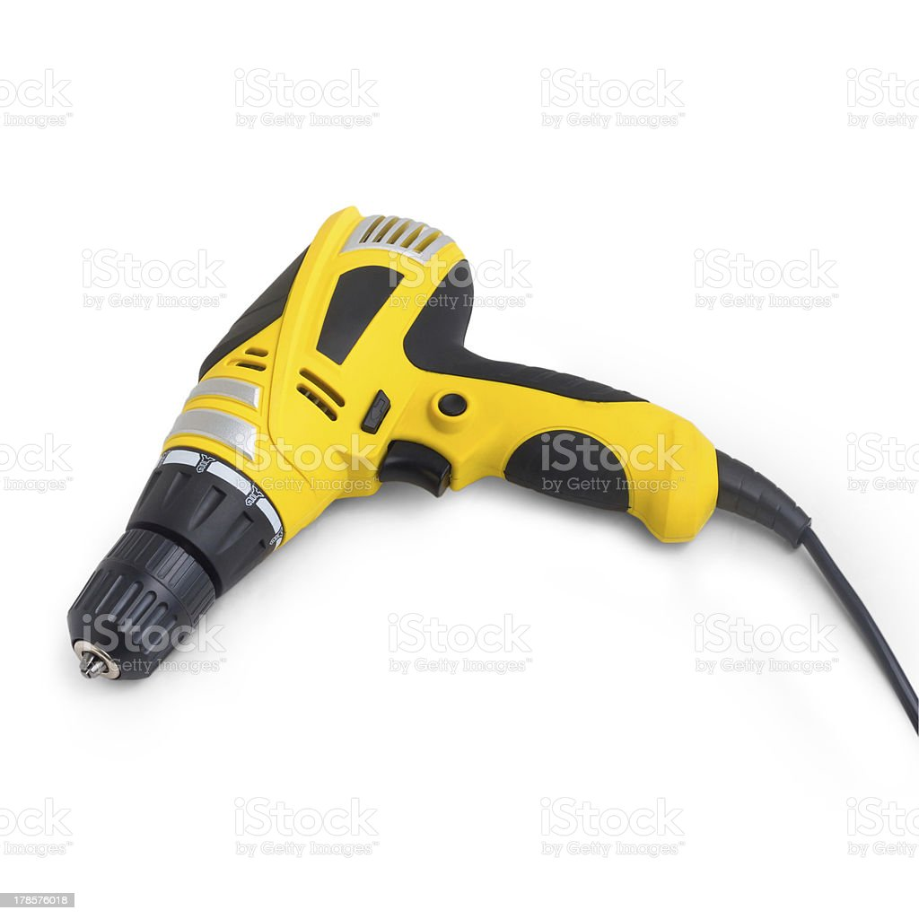drill tool yellow isolated on white background royalty-free stock photo