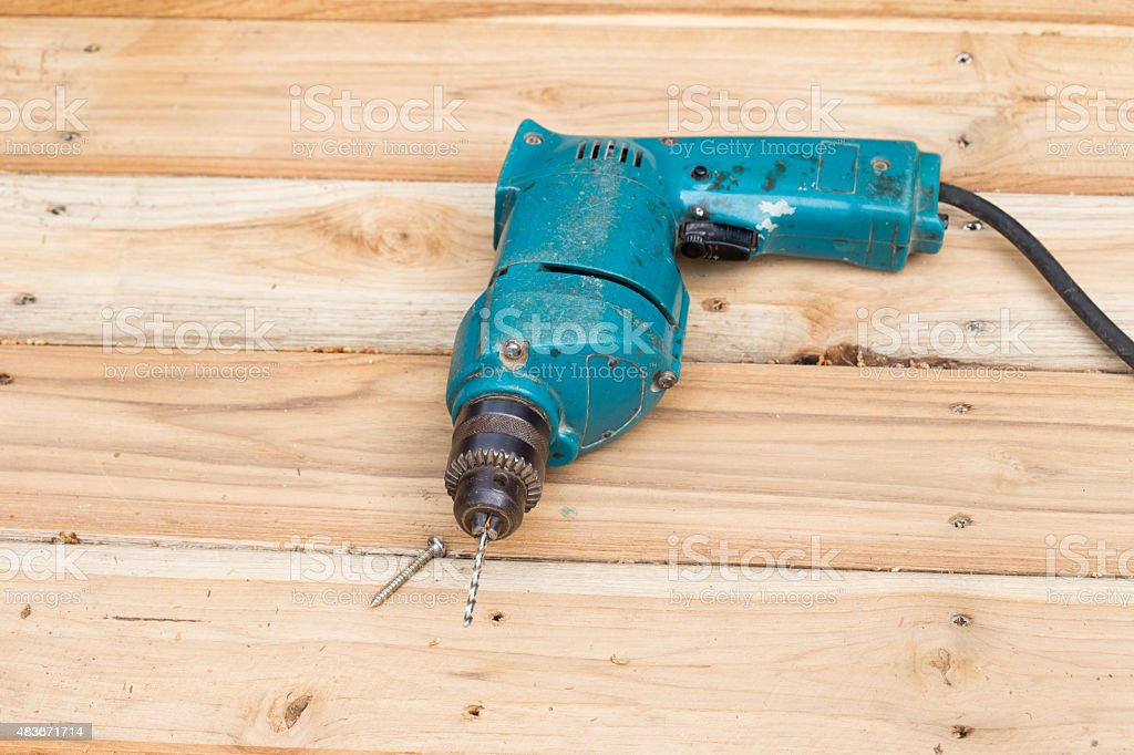 Drill with Screws Woodworking stock photo