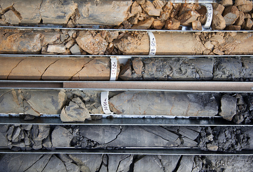 Detail of boxed core samples from diamond core drill