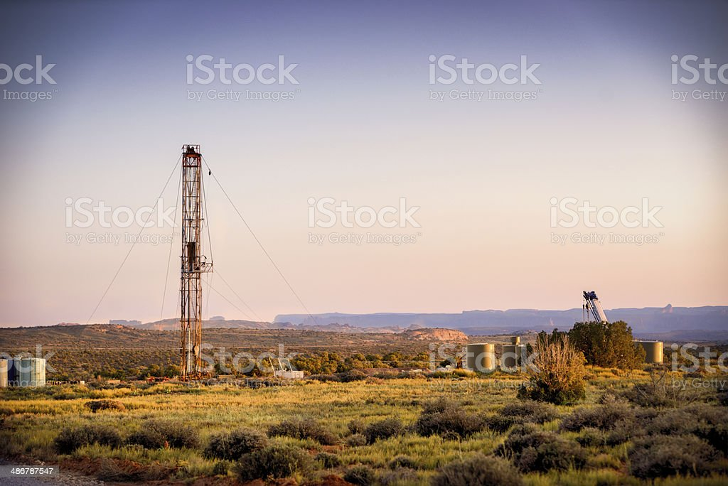 Drilling Fracking Rig at Dawn stock photo