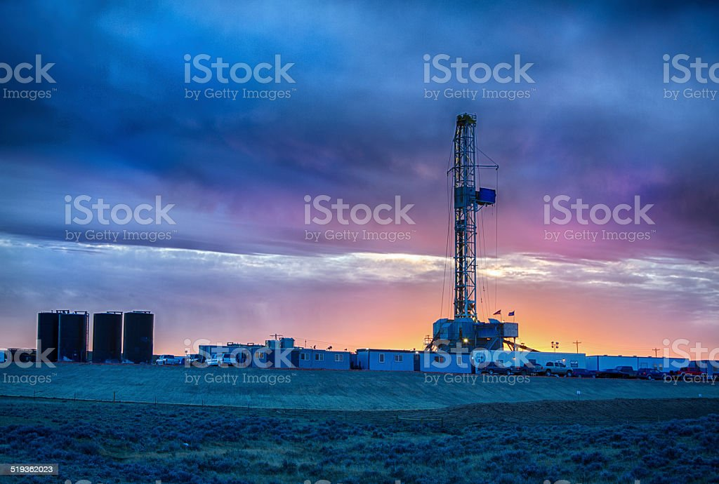 Drilling Fracking Rig at Night stock photo