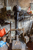Drilling machine in an old workshop