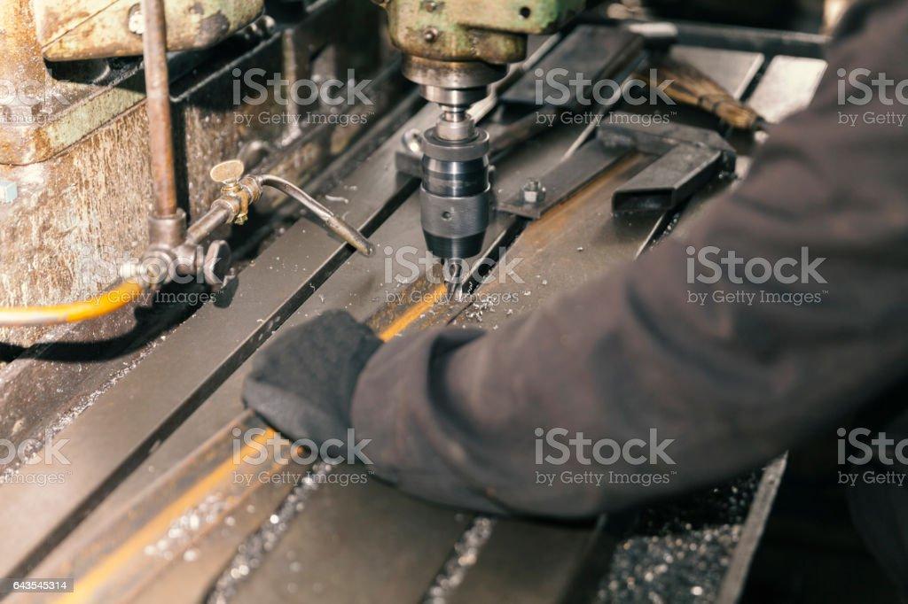 Drilling metal stock photo