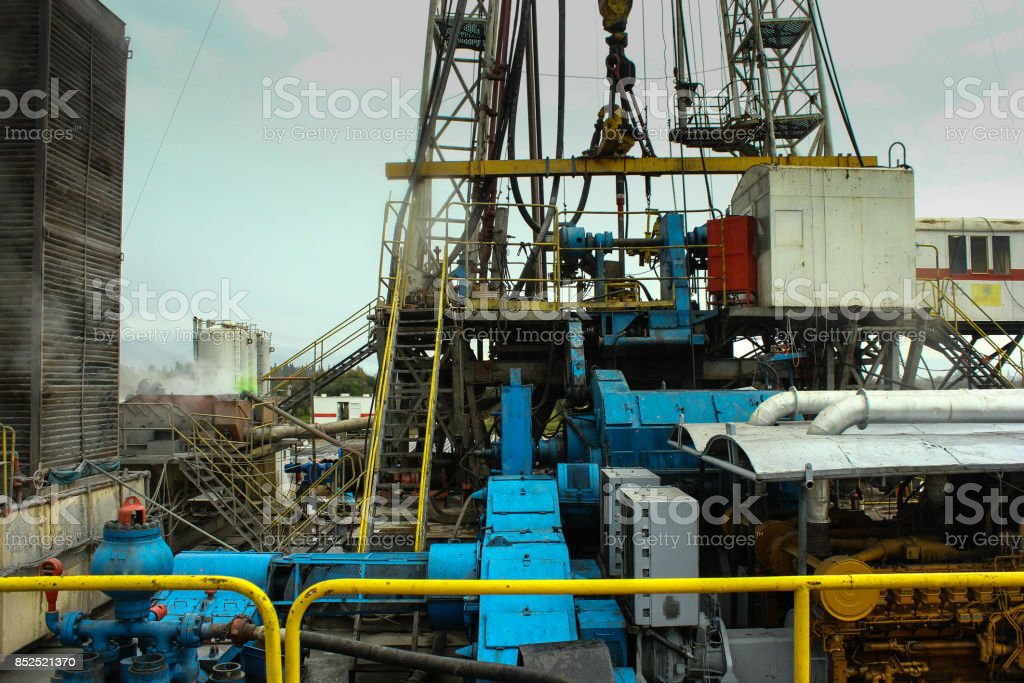 Drilling on the geothermal well platform and Equipments stock photo