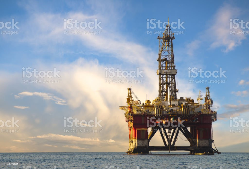Drilling platform during the coming storm stock photo
