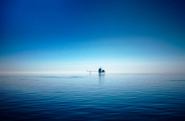 Drilling platform in the North Sea stock photo