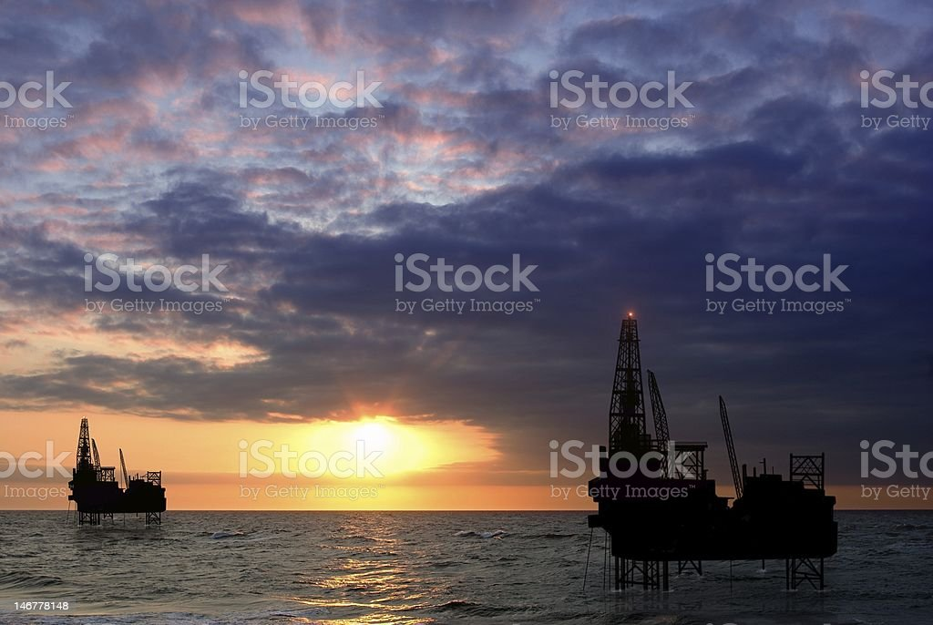 drilling platform on sea royalty-free stock photo