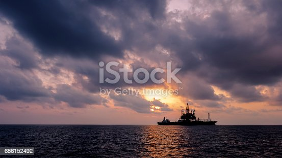 Beauty sunset in offshore, Malaysia