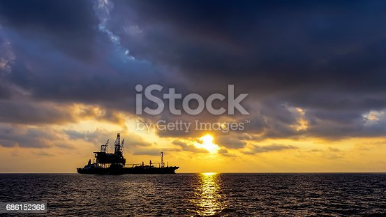 Drilling rig and platform silhouette sunset.
