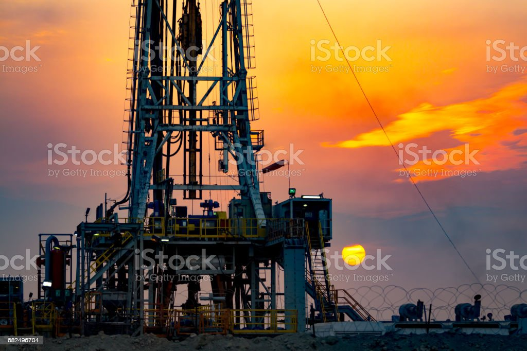 Drilling rig at sunset in Basra royalty-free stock photo