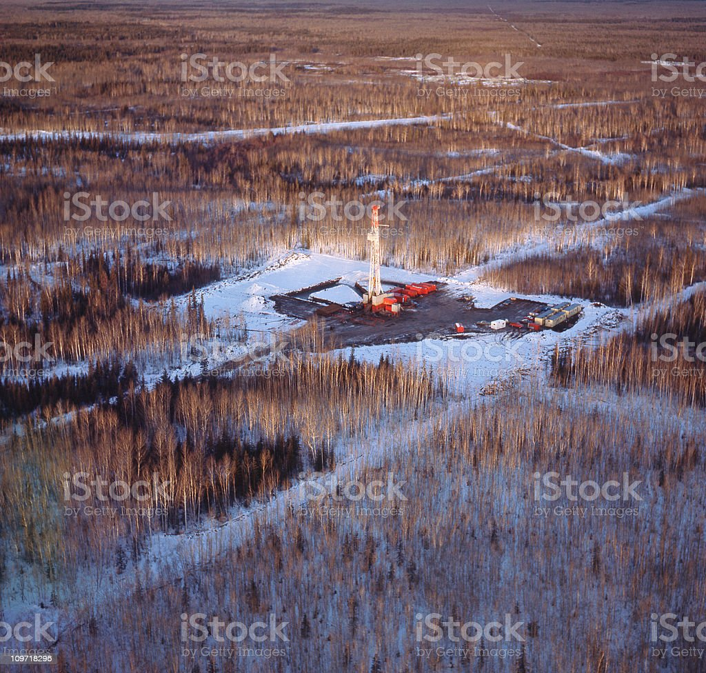 Drilling Rig from the Air stock photo