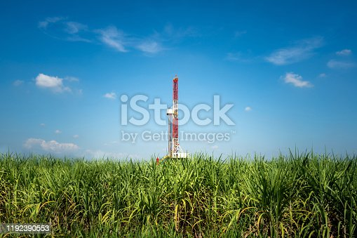 Drilling rig in oil field industrial is operating in rural location, there are sugar cane agriculture farm as foreground and clearly blue sky environment. Heavy industry operation photo.