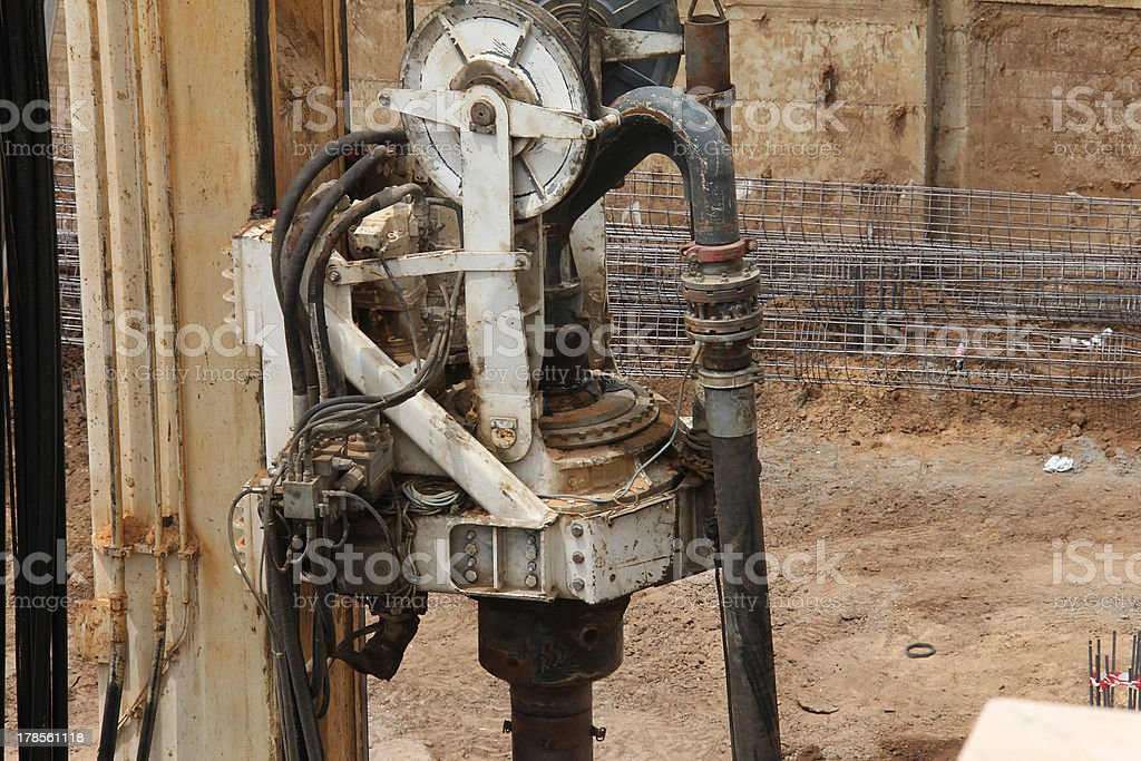Drilling rig. Swivel and auger royalty-free stock photo