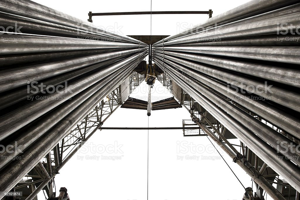 Drilling rig with fully loaded drill pipes royalty-free stock photo