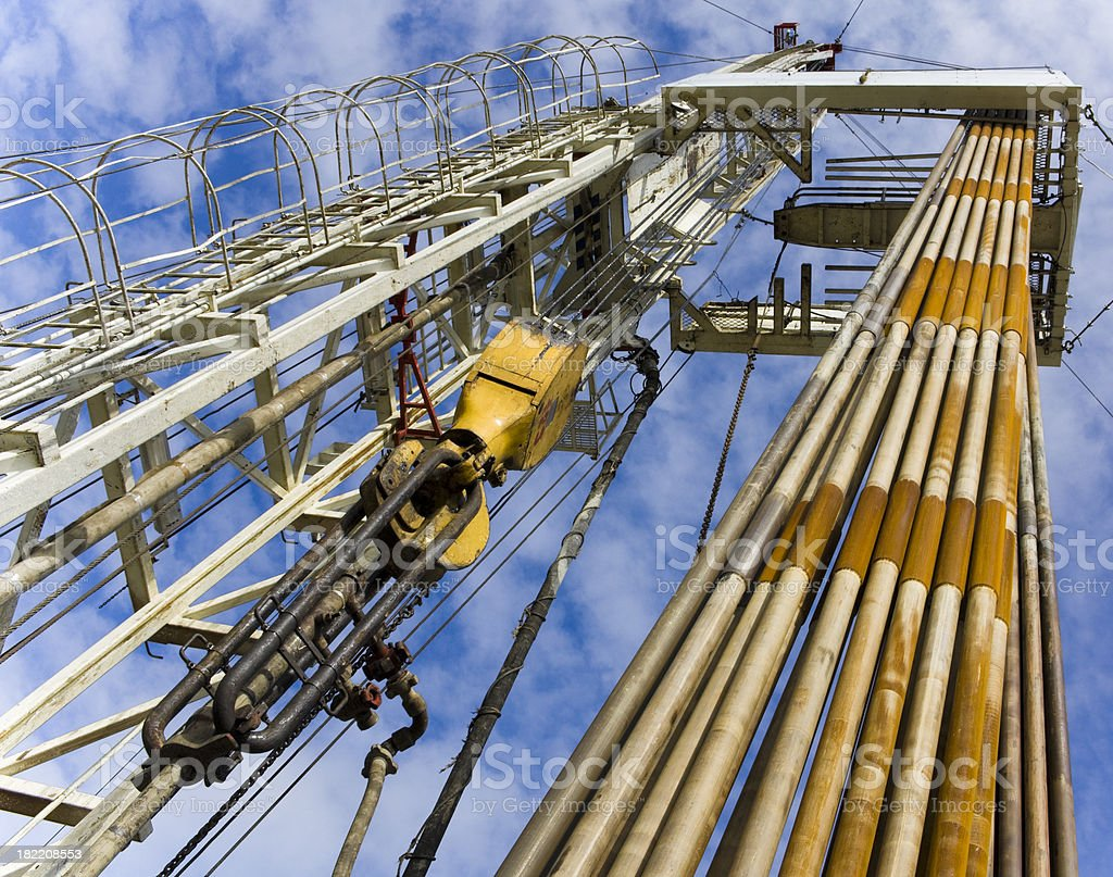 Drilling rig with stands close up royalty-free stock photo