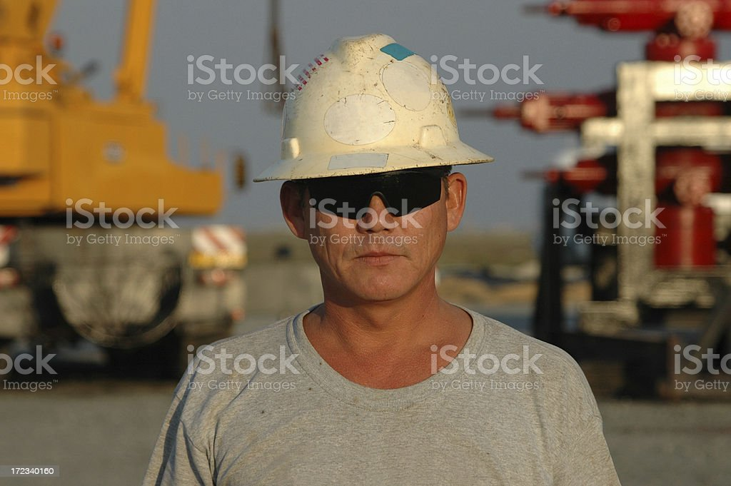 Drilling rig worker royalty-free stock photo