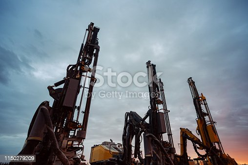 Heavy equipment on a road construction site.