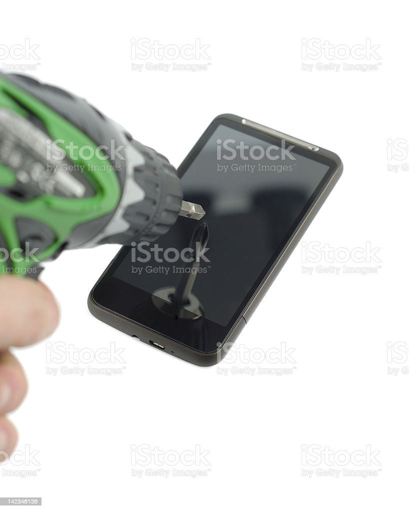 Drilling The Phone royalty-free stock photo