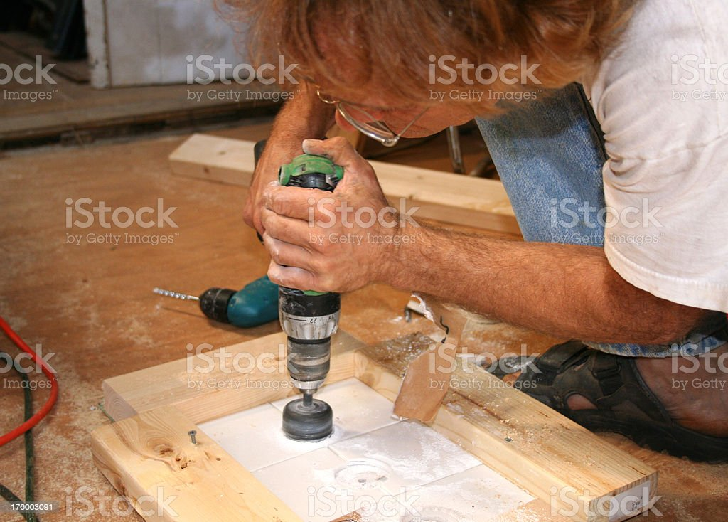 Drilling tile royalty-free stock photo