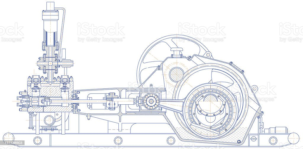 Drilling triplex pump stock photo