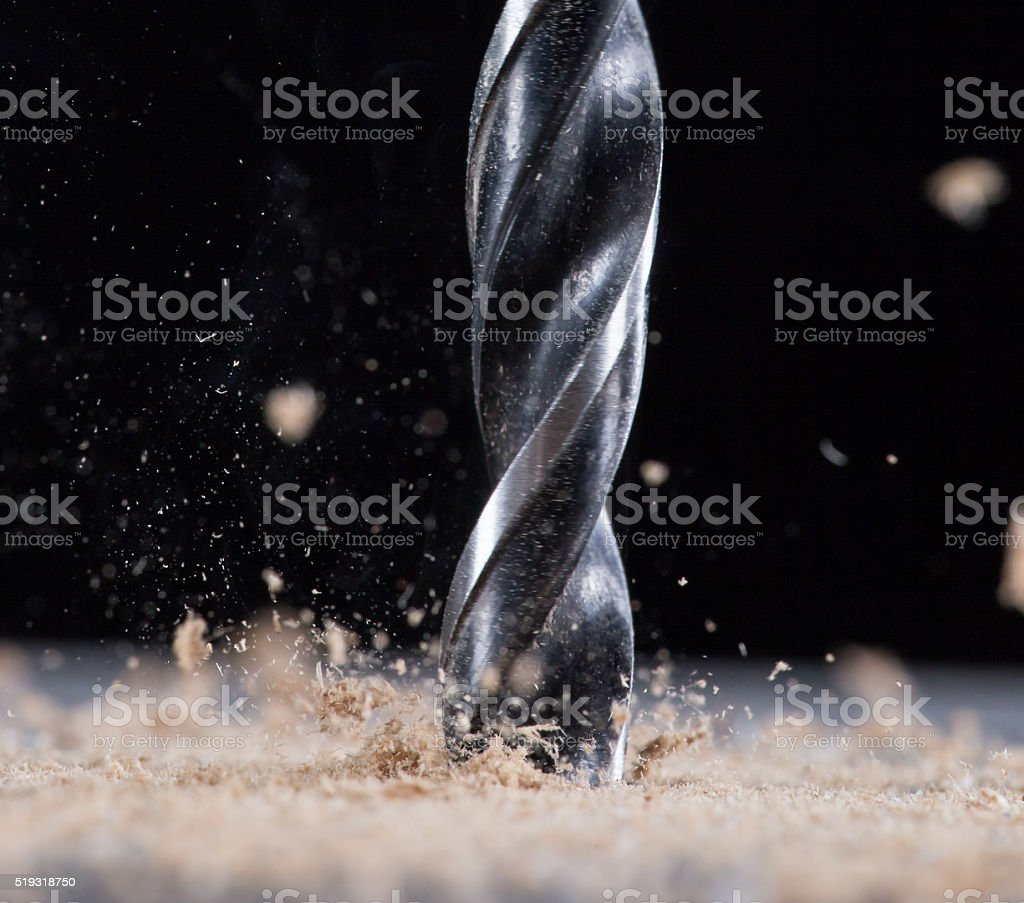 Drilling wooden plank. stock photo