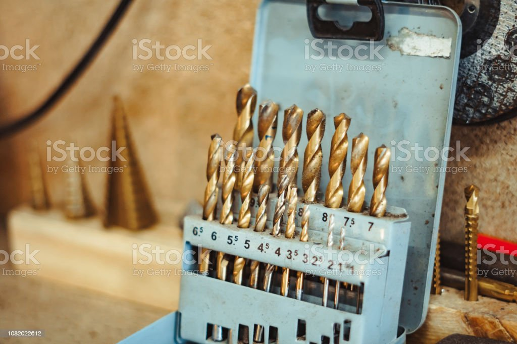 drills in the workshop stock photo