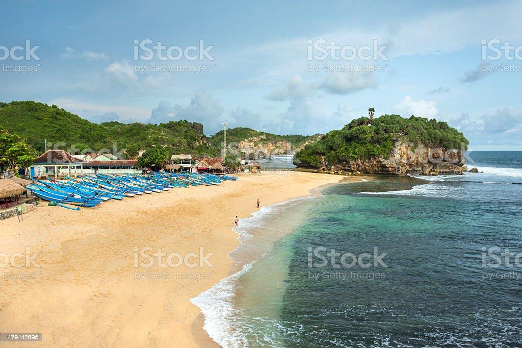 Drini Beach on Java, Indonesia stock photo