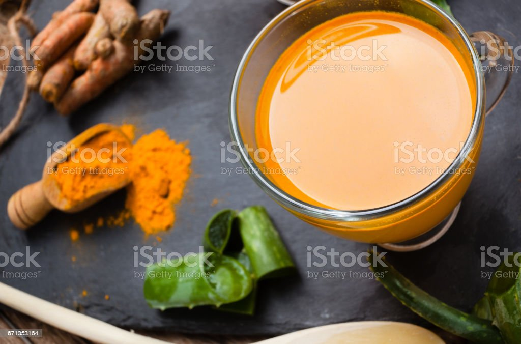 Drink aloe vera and turmeric stock photo