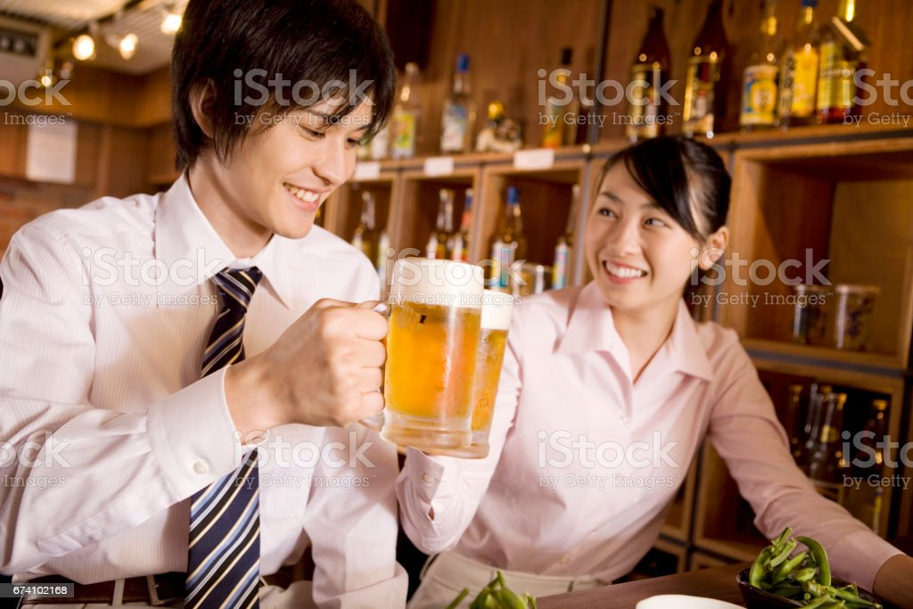 Drink beer on the corporate and business royalty-free stock photo