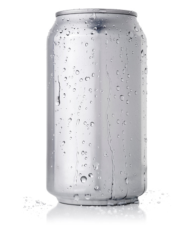 Drink can with condensation.