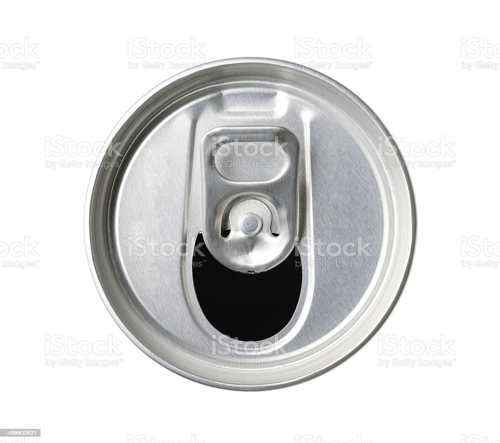 Drink can top with ring pull on white background stock photo
