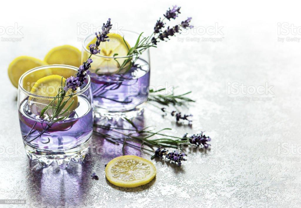 Drink lemon lavender flowers summer lemonade stock photo