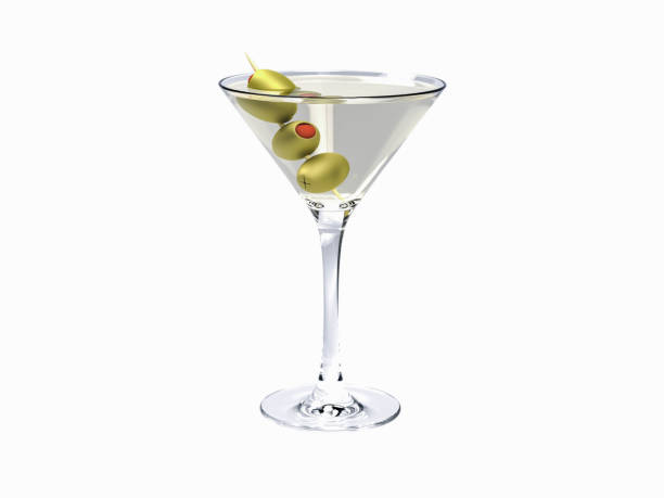 Drink martini. Martini with olives isolated on white stock photo