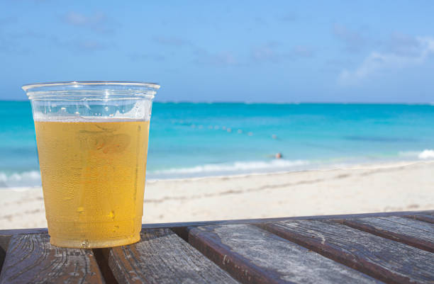 Drink on tropical beach stock photo