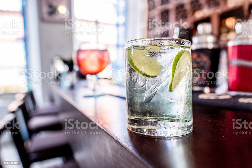 Drink over the bar counter stock photo