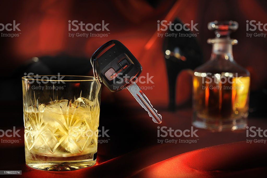 Drink Whisky and Driving royalty-free stock photo