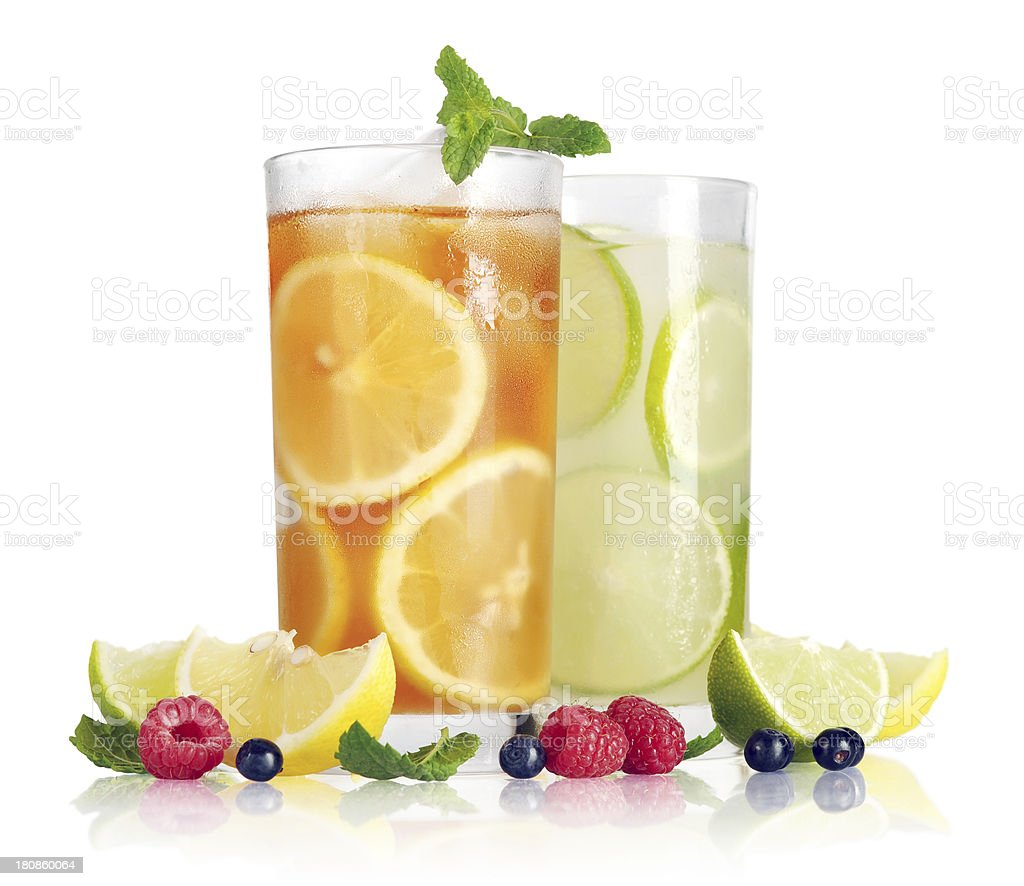 Drink with lemon, lime and mint royalty-free stock photo