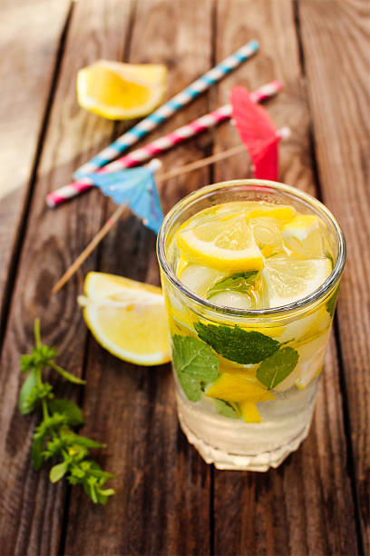 drink with lemon, mint, ice, water - monarda citriodora - fotografias e filmes do acervo